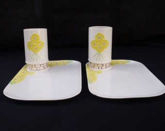 Ceramic Luncheon Plate and Cup set PAIR 1975