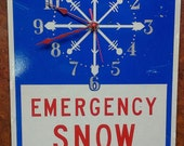 "Re-purposed ""Emergency Snow Route"" Street Sign Wall Clock"