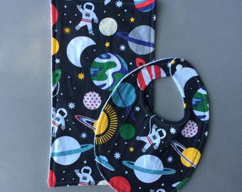 Absorbant Bib and Burp Cloth Set - Astronaut Outerspace Planets