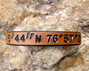Custom Coordinates - Mens Womens Personalized Leather Bracelet - Latitude Longitude GPS Coordinates Leather Cuff - SarahsArtistry