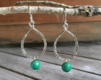 Hammered Oval & Blue/Green Magnesite Drop Earrings, sterling silver, gemstone, blue/green, hand-forged