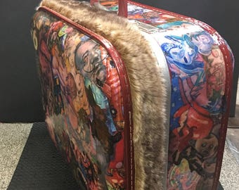 Decoupaged Vintage Suitcase One of a kind hand made