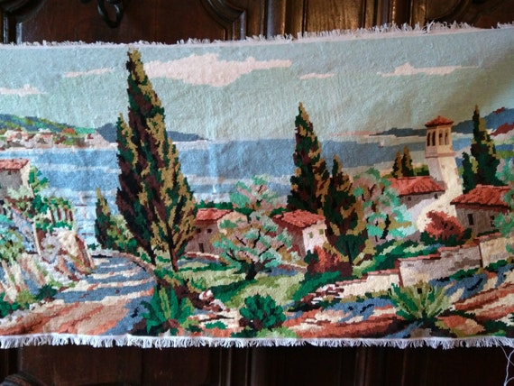 Vintage French Tapestry Tuscany Landscape Needle Point Cotton Canvas Frame Bag Pillow Sewing Project #sophieladydeparis