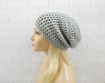 Light Grey Slouch Hat, Oversized Hat, Vegan Beanie, Womens Hat, Winter Hat, Slouchy Beanie, Slouchy Grey Hat, Crochet Beanie Hat