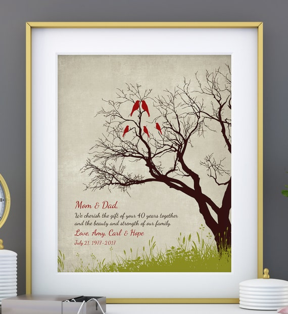 Ruby Wedding Gift For Parents : 40th Anniversary Gift for parents, 40th RUBY Anniversary print ...