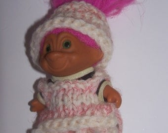 Troll Doll- Pink hair- Sweater-Hand Made sweater- Pink and White Sweater-troll birthday party