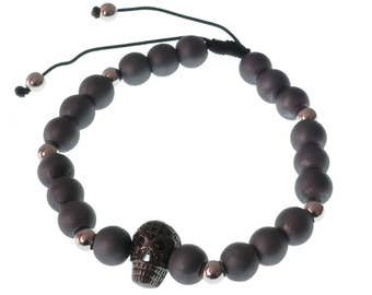 Black Skull Bracelet/ Swarovski Black Pearl/ For Men/ For Him/ Sliding Knot/ Father's Day