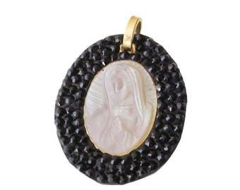 Virgin Mary Pendant/ Swarovski Pendant/ Virgin Mary/ Virgin Mary/ Mother Pearl
