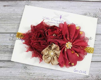 Burgundy wine red gold glitter {cluster headband, fancy headband, Christmas headband}