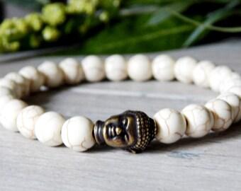 Mens Buddha Bracelet, Mens White Bracelet, Mens Yoga Jewelry, Men's Yoga Bracelet, Man Bracelet, Men's Buddha Jewelry, Gift for Him