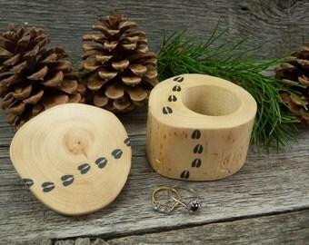Handmade Jewelry Box. Rustic Trinket Box  Featuring Original Artwork - Elk Tracks. Rustic Jewelry Box. Wooden Jewelry Box. Elk Lover Gift.