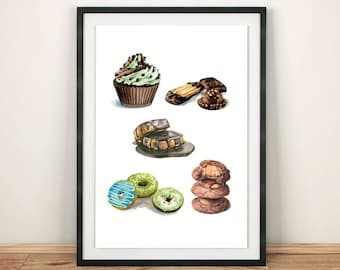 Chocolate Pastries Dessert Collection Fancy Cakes Bakery Variety Food Illustration Watercolor Art Print Kitchen Wall Decor Home Interior