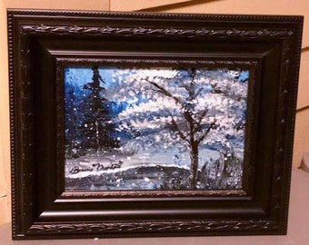 Original Acrylic Winter Snow Painting with 5 x 7  with Frame