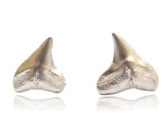 shark tooth stud earrings // cast sterling silver post earrings // amelia island // beach ocean shark // gift for her