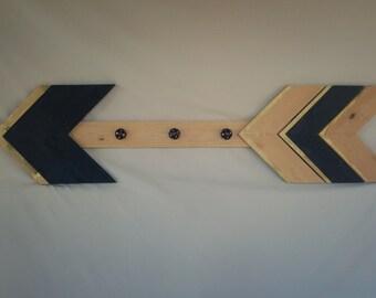 Black and Gold Arrow, Coat Hanger, Large Arrow, Black and Gold Wooden Coat Rack, Black and Gold Tribal Decor, Foyer Decor, Hall Decor