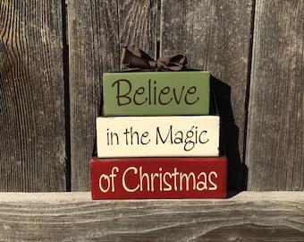 Believe in the Magic of Christmas wood blocks, Christmas decor, Christmas blocks