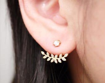 Gold Cubic Zirconia Leaf Ear Jacket Earrings, Two Side Earrings, Ear Jackets, Bridal Jewelry