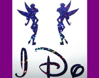 NEW Disney Inspired Tinkerbell I Do Shoe Stickers You Pick Color Sparkly Wedding Shoe Decals