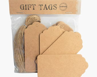 Brown Paper Tags Retro Scallop Label Price Blank Card 350gsm - With Brown Jute Strings