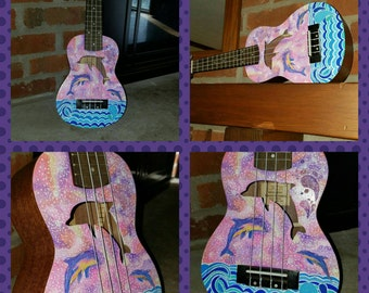 Ukulele, Ready to ship, Dolphin Ukulele, Hand Painted, Engrave, Dolphin, Galaxy Paint, Decorated Soprano, ukelele instrument