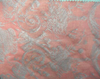 Fortuny vintage cotton fabric sample, Festoni , 9 x12, red and silver, No.5054 / designer fabric sample