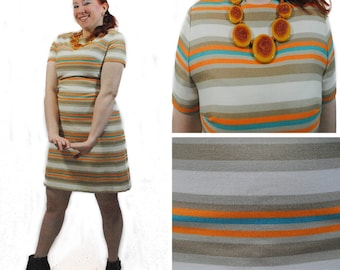 Mod Orange and Blue Striped Shift Dress