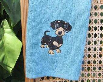 Machine Embroidered Dachshund Kitchen Towel