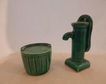 Vintage 1960's Water Pump & Bucket Salt and Pepper Shakers