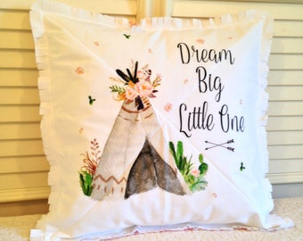 Crib Rag Quilt Style Pillow Cover, Pink Coral Taupe Deer Teepees Baby Girl Crib Bedding Pillow Sham Nursery Decor