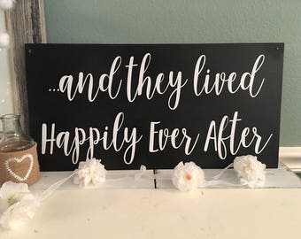 and they lived Happily Ever After   Disney Wedding Sign   Wedding Photo Shoot   Ring Bearer sign    flower girl sign   black
