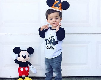 I'm TWOdless Mickey head 2nd Birthday tee or tank top RAGLAN Two Second Bday Party T Shirt Tank Top - Custom Color