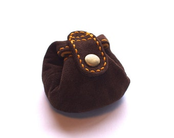 Leather Coin Purse, Coin Pouch, Coin Case, Coin Wallet, Suede, Dark Brown