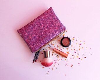 Berry Purple Glitter Makeup Bag, Sparkly Purple Toiletry Bag, Purple Zipped Pouch, Purple Glitter Cosmetic Bag, Berry Glitter, Purple Pouch,