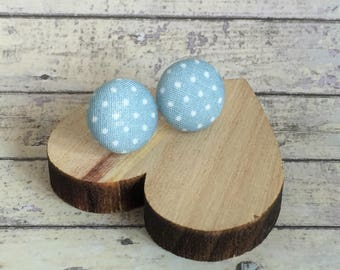 Silver Plated Button Earrings - Fabric Button Studs - Pastel Blue & White Spot