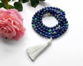 Blue Lapis Mala Necklace, Mala Necklace, Silk Tassel Mala, Mala, Mala Beads, 108 Mala Beads, Japa Mala, Yoga Jewelry, Prayer Beads, MLT8