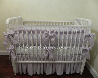 Lavender Baby Bedding Set - Girl Crib Bedding in Lavender Linen