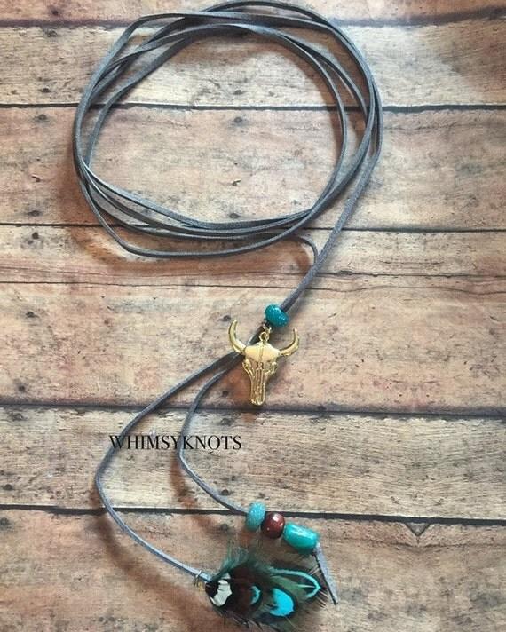 Boho Style Wrap choker Necklace, Aztec choker, boho style choker, feather necklace