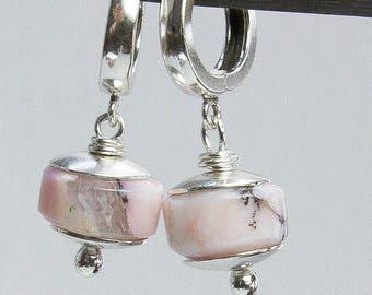 Pink Opal Earrings. Peruvian Opal Earrings. Hoop Earrings. Sterling Silver Earrings. October Birthstone. Opal Jewelry. Women. Gift Under 100