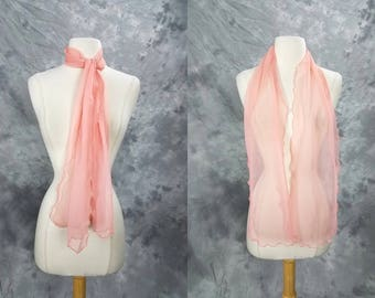 Sheer pink scarf, polyester long thin scarf, Ray Strauss
