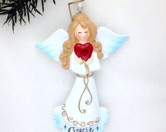 FREE SHIPPING Angel with Heart Personalized Christmas Ornament / Angel Ornament / Elegant Angel Ornament / Personalized Ornament