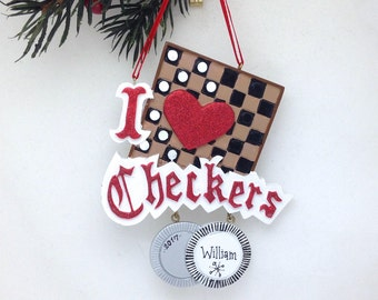 FREE SHIPPING I Love Checkers Personalized Christmas Ornament / Games Ornament / Hobbies Christmas Tree Ornament