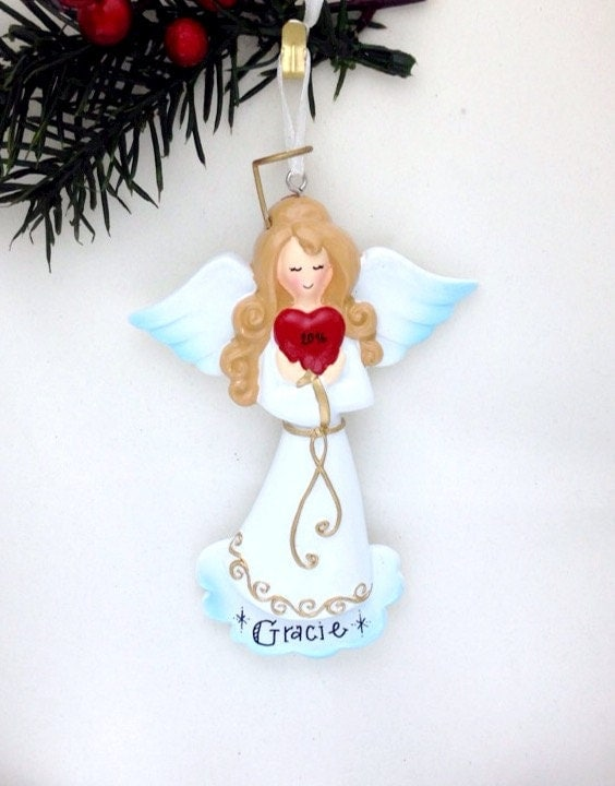 FREE SHIPPING Angel with Heart Personalized Christmas Ornament