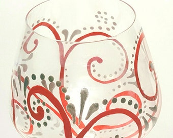 Two Red & silver swirl hand painted wine glasses, decorated wine glasses, red wine glasses, Lenox wine glasses, high quality wine glass