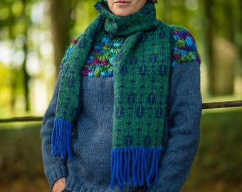 Fair Isle Scarf in Green and Navy Beetle Pattern Felted Pure New Wool with Fringing by Crooked Knitwear