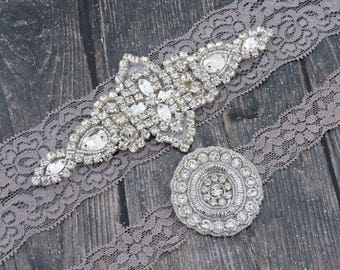 SALE! Wedding Garter Set - Vintage Gray Lace Garter with Rhinestone Diamond Wedding Garter - Rhinestone Applique - Garter Toss