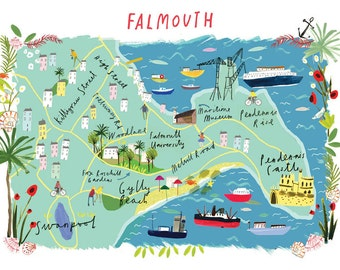 Illustrated A4 Map of Falmouth, Cornwall UK.