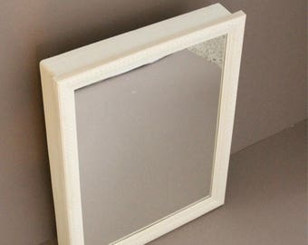 White wicker mirror etsy - White wicker bathroom accessories ...