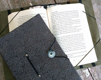Book holder for hands free reading, trade size book cover, XL, grey paisley, book lovers gift, reading aid, for readers & bibliophiles
