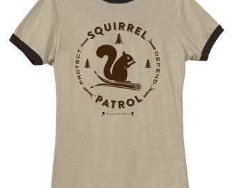 Squirrel T-shirt  SQUIRREL PATROL on Ladies' Slim Fit Beige/Chocolate Ringer Tee