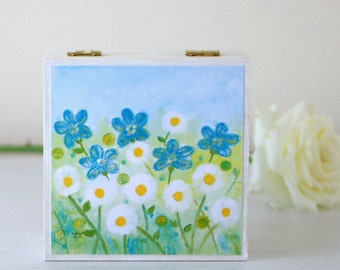 White Daisy Jewellery Box, White Flowers Wooden Box, Floral Storage Box, White Floral Decorative Box, Meadow Flowers Jewellery Box